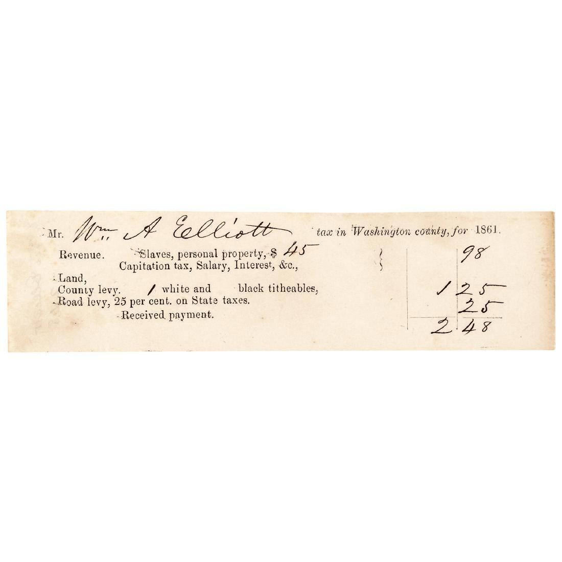 1861 Civil War Tax Receipt for Slaves + Property