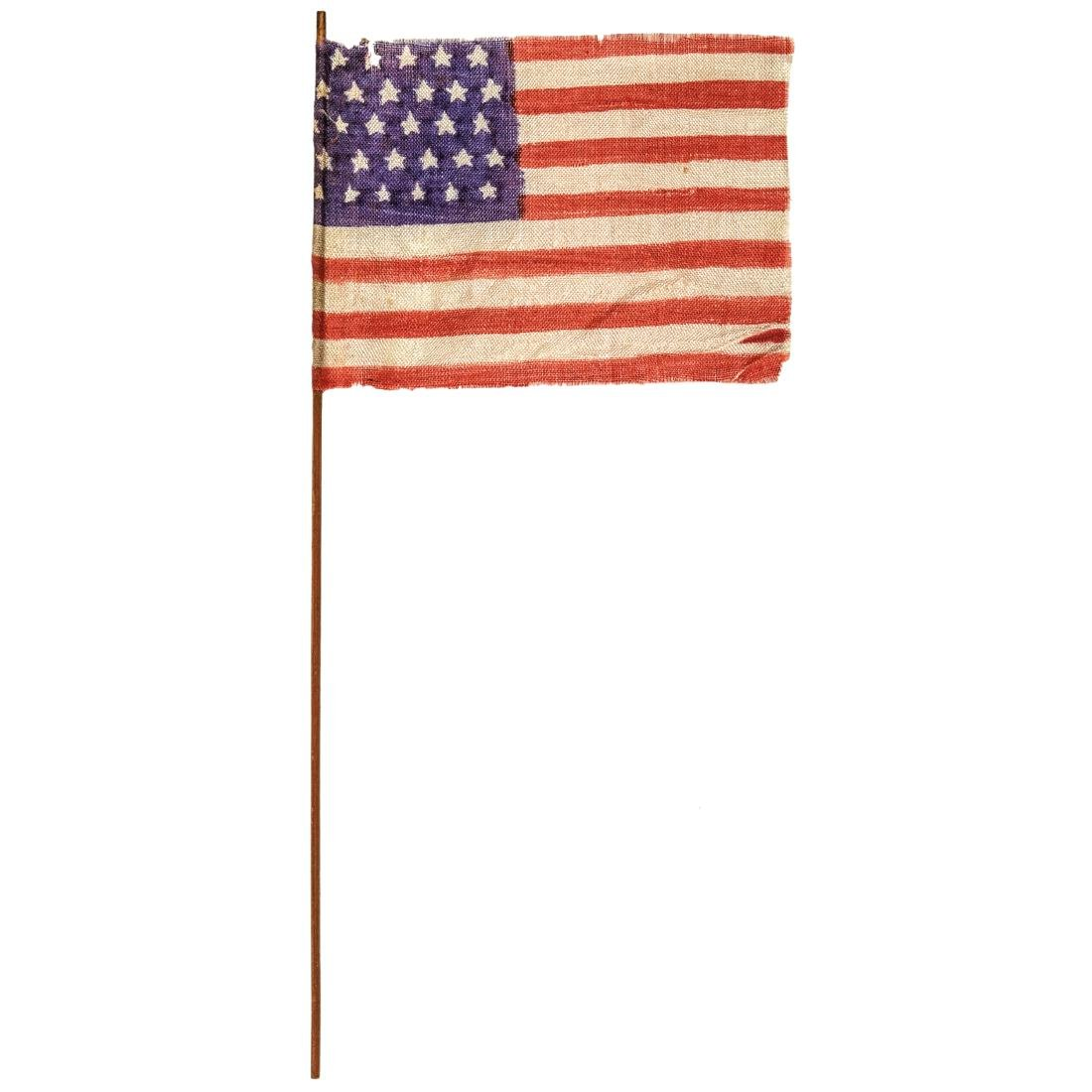 c. 1848 30-Star Printed Silk American Parade Flag