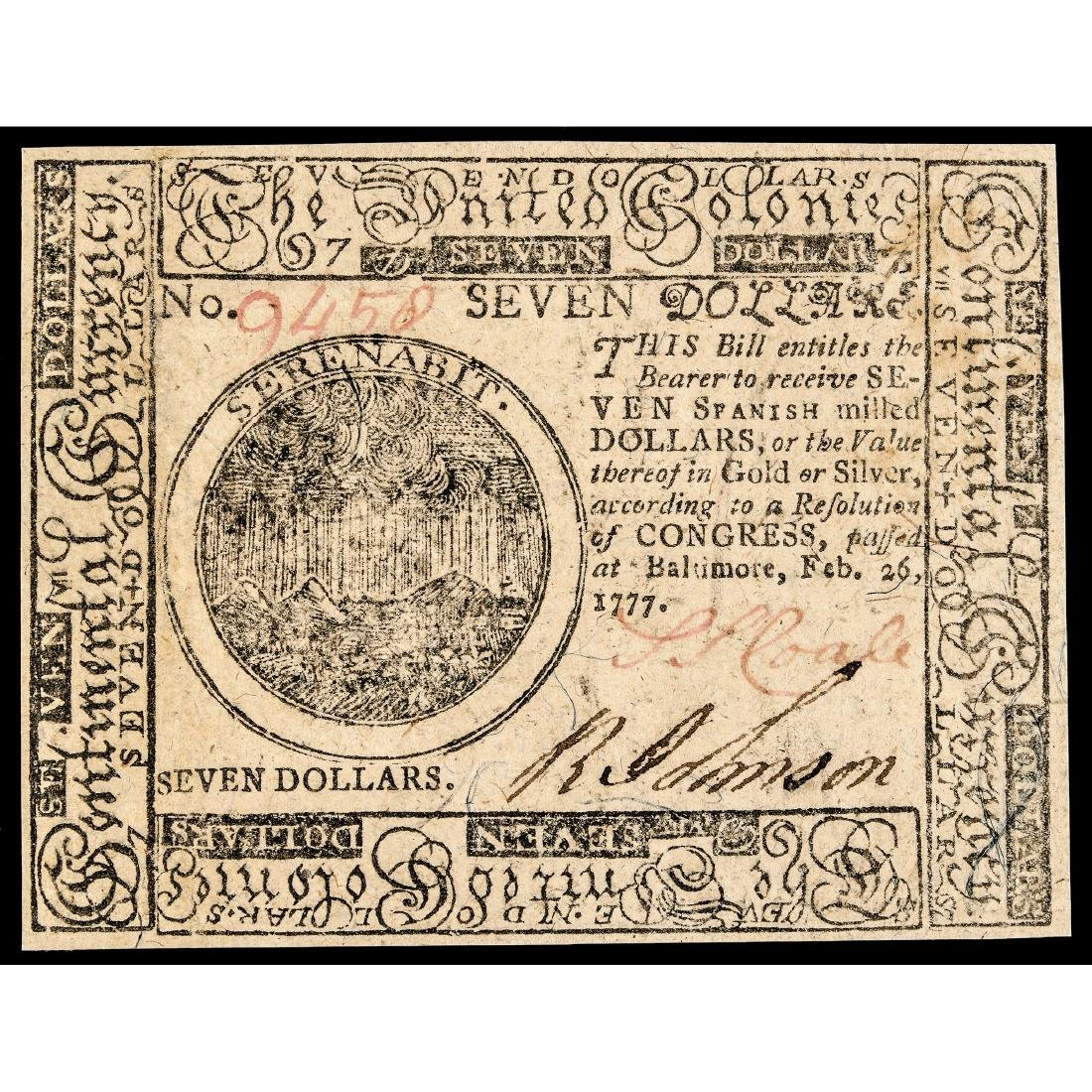 Continental, Feb. 1777 $7 Baltimore Note Ch. CU