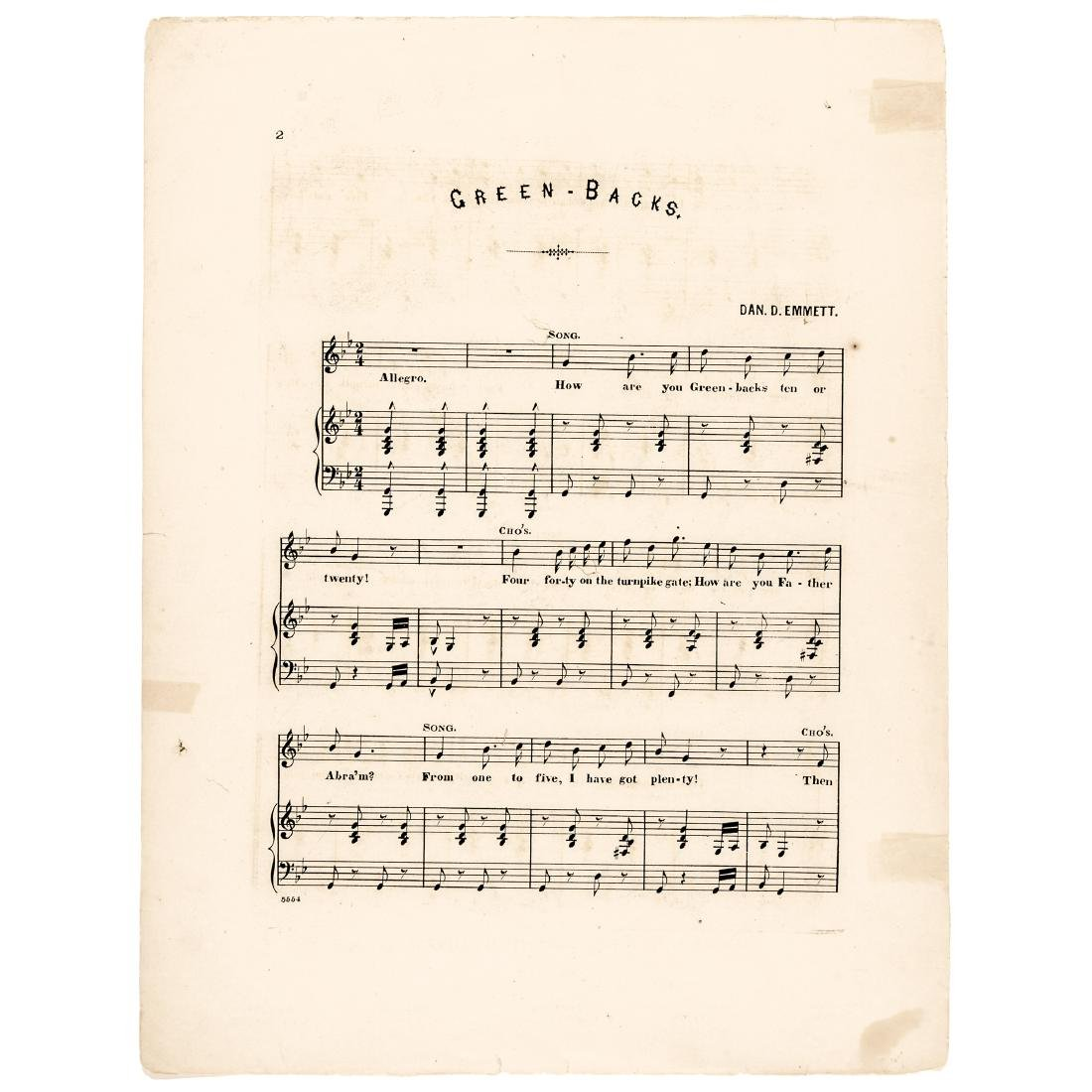 1863 Civil War Printed GREENBACKS! Sheet Music - 2