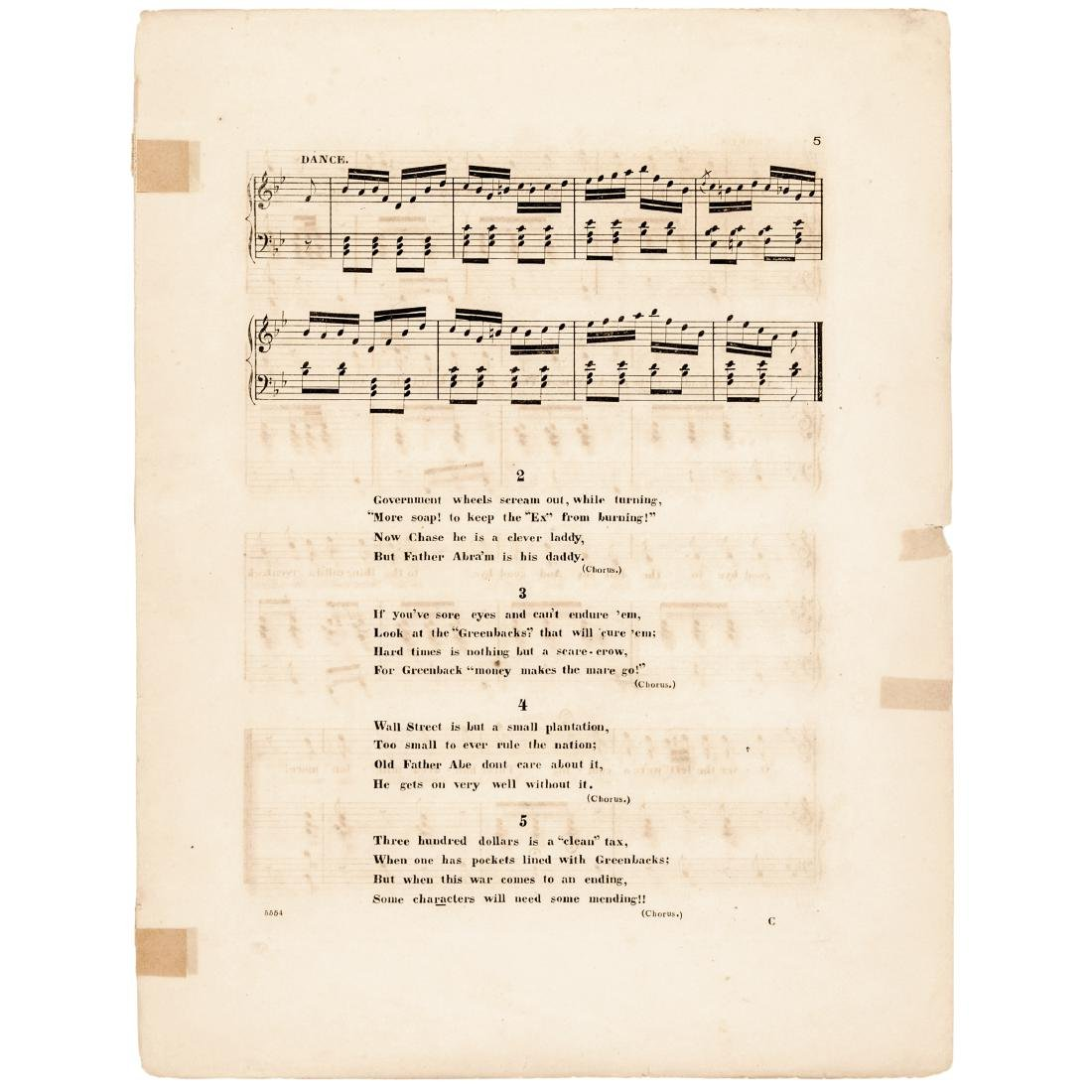 1863 Civil War Printed GREENBACKS! Sheet Music - 5