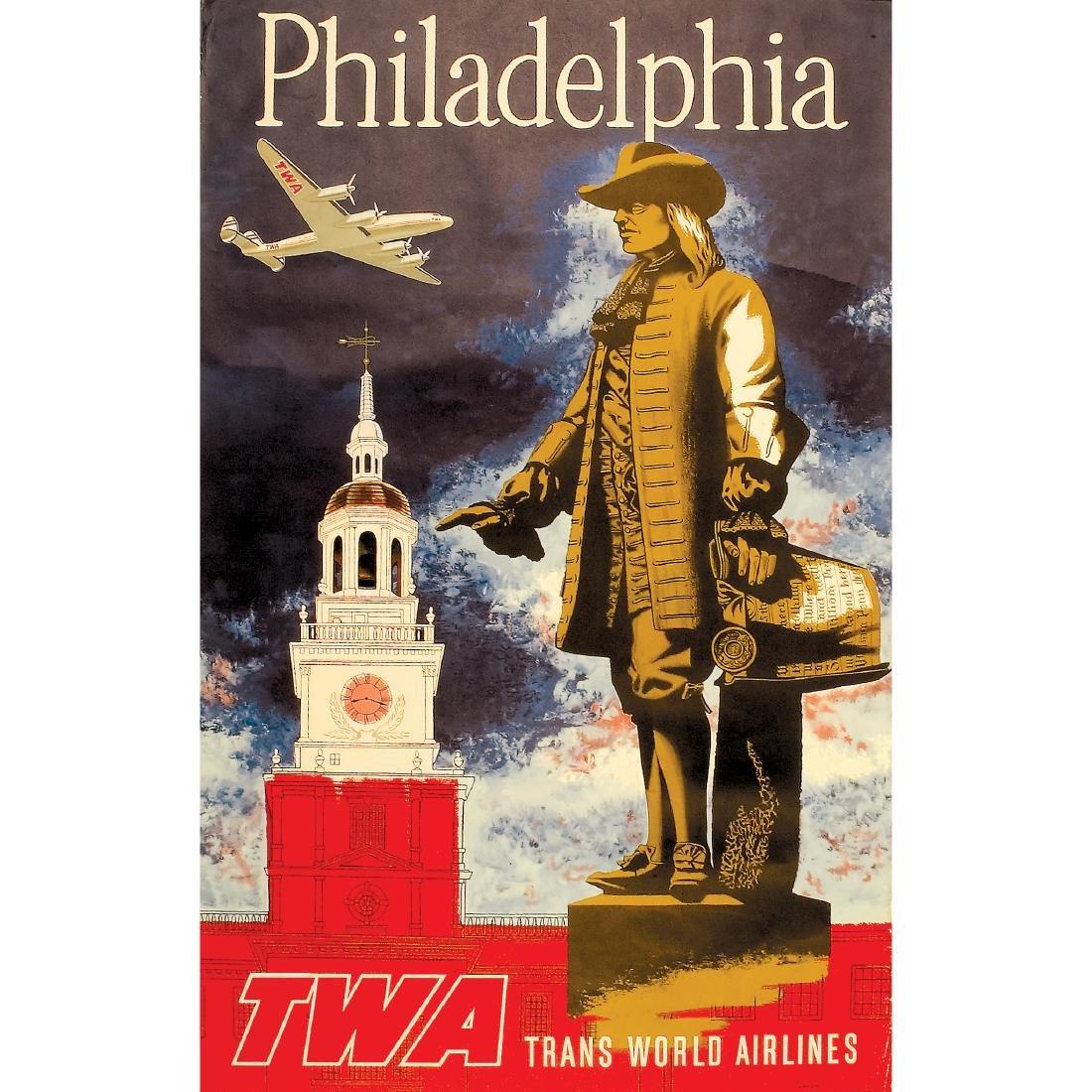 c. 1960s, TWA Travel Poster titled, Philadelphia