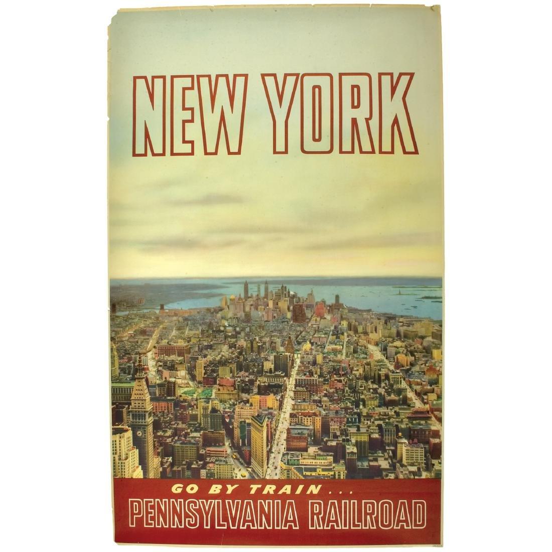 c. 1960 NEW YORK, Pennsylvania Railroad Poster