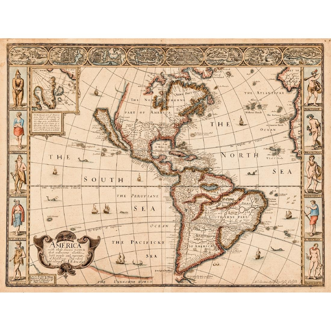 1626-Dated JOHN SPEED Map of America CA an Island