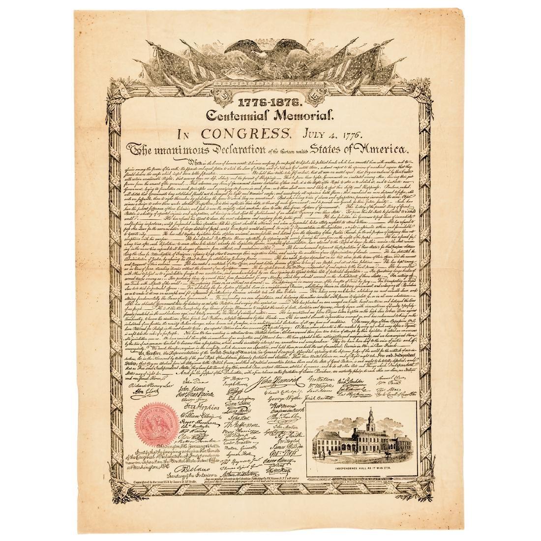 DECLARATION OF INDEPENDENCE 1876 Advt. Broadside