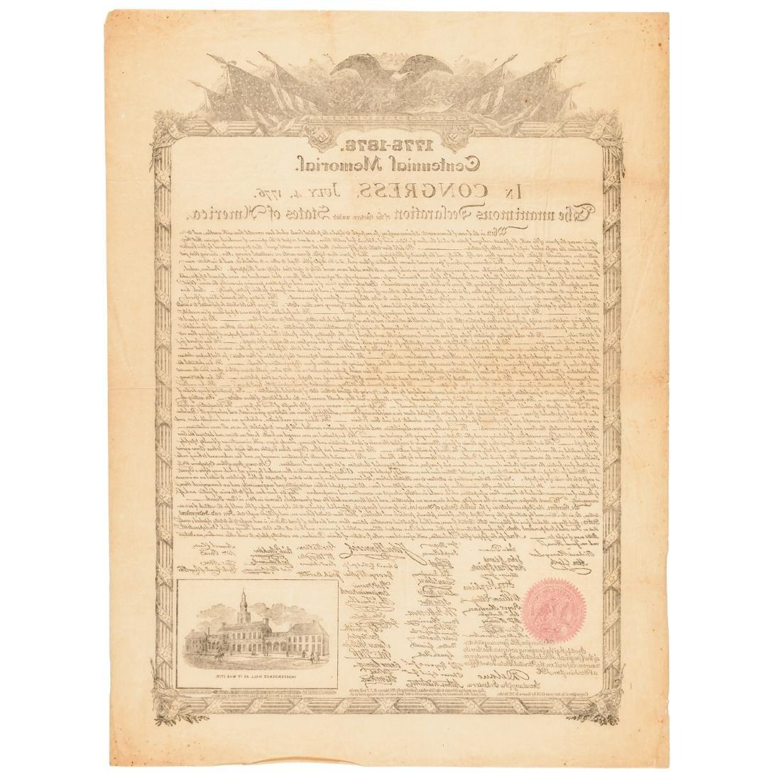 DECLARATION OF INDEPENDENCE 1876 Advt. Broadside - 2
