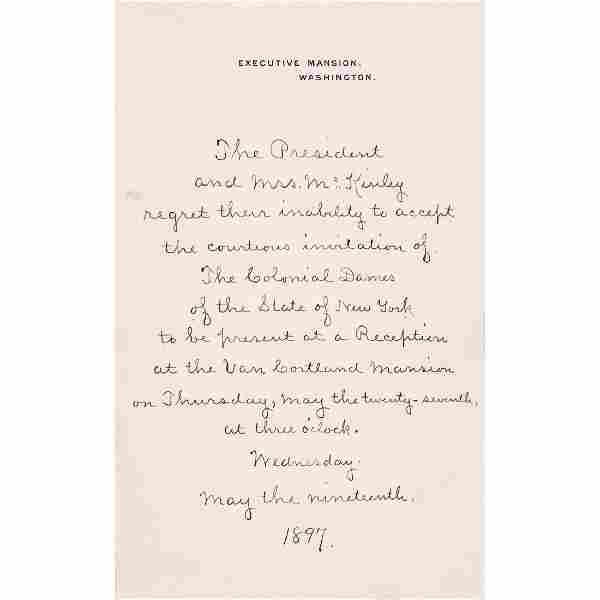 Pres William McKinley Declines Colonial Dames, NY