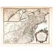 1755 Map of North America by De Vaugondy