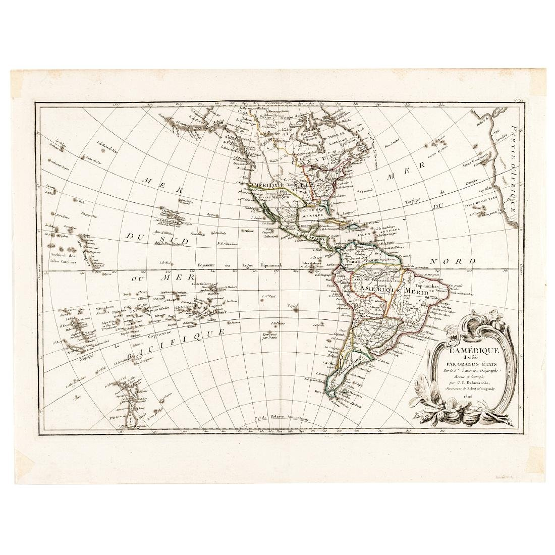 1806-Dated Hand-Colored Western Hemisphere Map