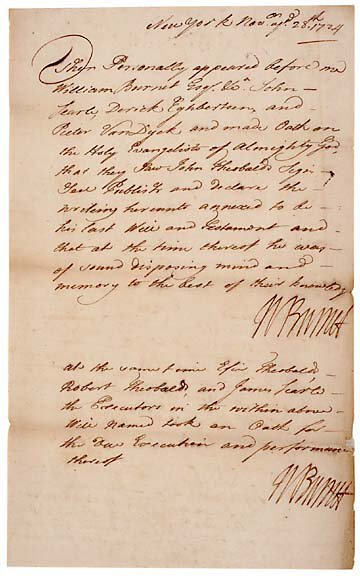 2009: WILLIAM BURNET Signed Document from 1724