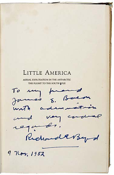 2010: First Edition Book Signed by Richard .E. Byrd