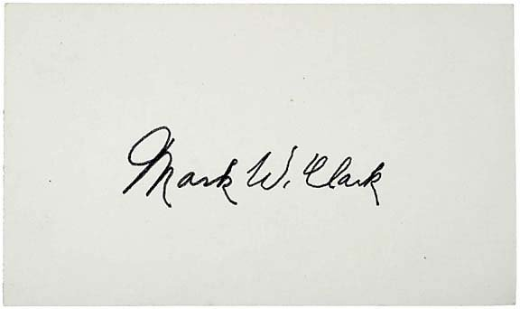 2013: WWII Gen. Mark W. Clark Signed Card