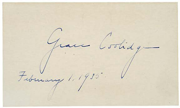 2020: GRACE COOLIDGE Autographed Card