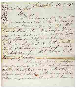 Mordecai Lewis Signed Letter, 1792