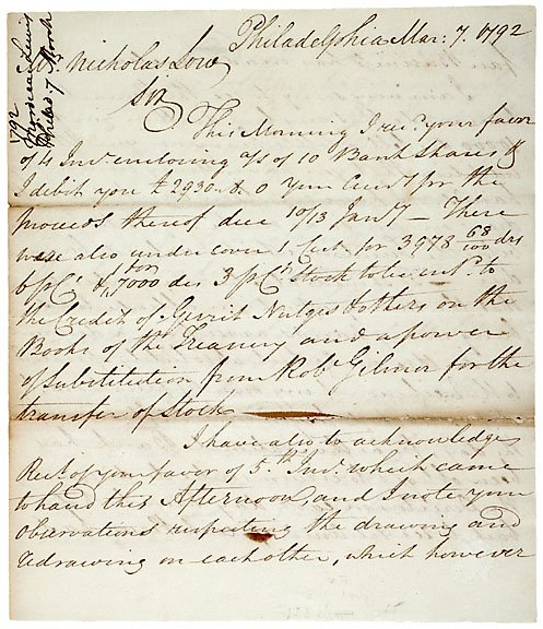 3: Mordecai Lewis Signed Letter, 1792