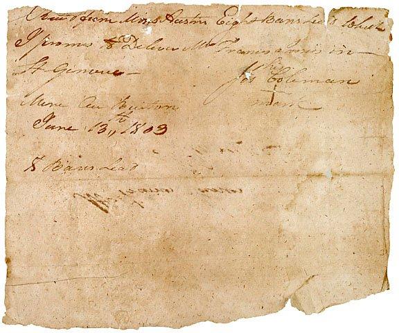 6: Rare Moses Austin Signed Document, 1803