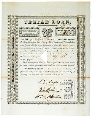 Stephen Austin Signed Document, 1836