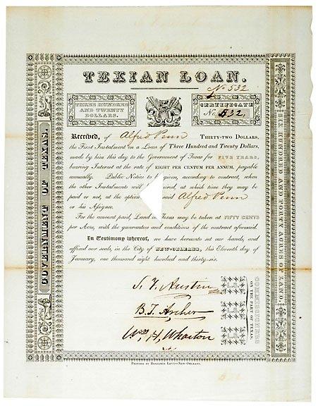 7: Stephen Austin Signed Document, 1836