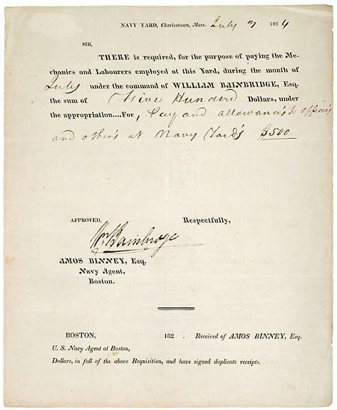8: William Bainbridge Signed Document, 1824