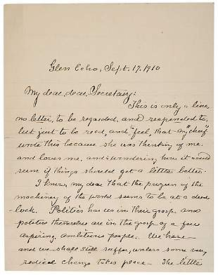 Clara Barton Signed Letter, 1910
