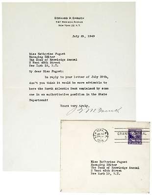 Bernard Baruch Signed Letter, 1949