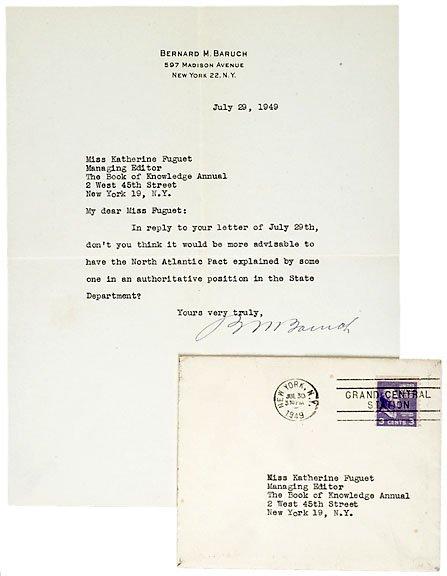 11: Bernard Baruch Signed Letter, 1949