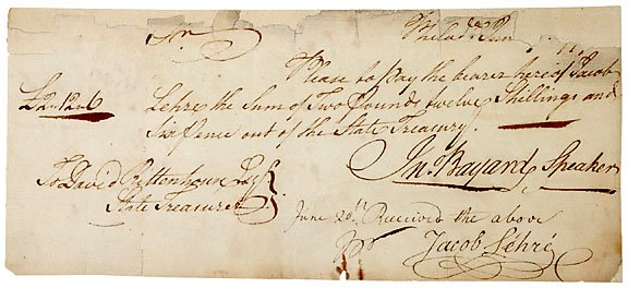 12: John Bayard Signed Document c.1770