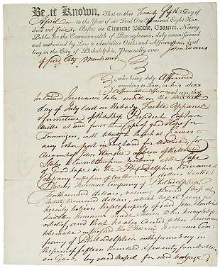 Clement Biddle Signed Document, 1805