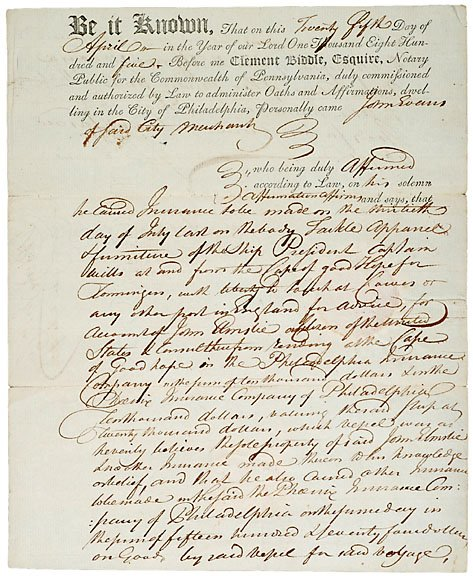 16: Clement Biddle Signed Document, 1805