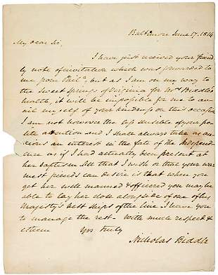 1814 Naval Letter Signed by Nicholas Biddle