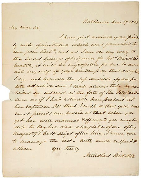 17: 1814 Naval Letter Signed by Nicholas Biddle