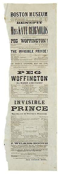 1862 John Wilkes Booth Playbill Broadside