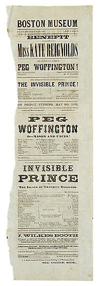 18: 1862 John Wilkes Booth Playbill Broadside