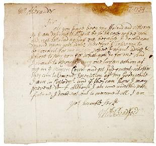 William Bradford SIgned Letter, 1734