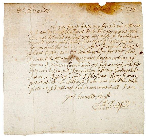 19: William Bradford SIgned Letter, 1734
