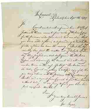 George Bryan Signed Letter, 1777