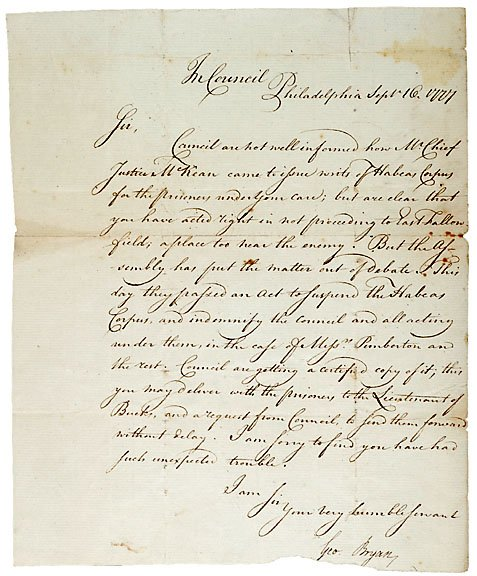 20: George Bryan Signed Letter, 1777