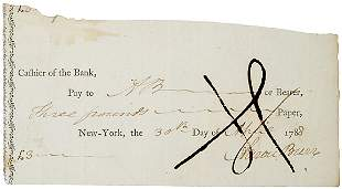 Aaron Burr Signed Check, 1788