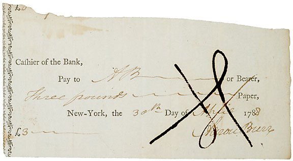 22: Aaron Burr Signed Check, 1788