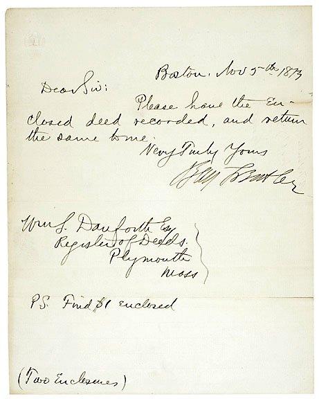 24: Benjamin Butler Signed Note 1873