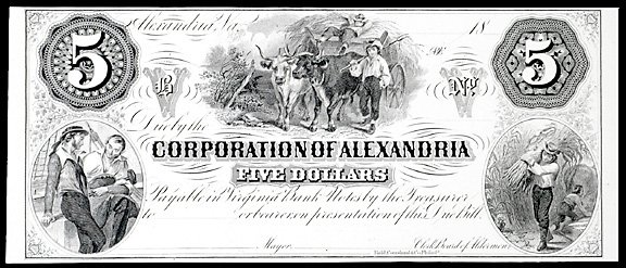 943: Obsolete Currency Alexandria, VA,  $5