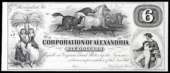 944: Obsolete Currency Alexandria, VA,  $6