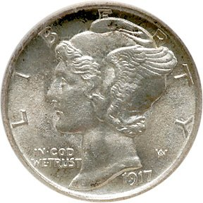 1090: 1917-S Mercury Dime, Split Bands SEGS MS-67