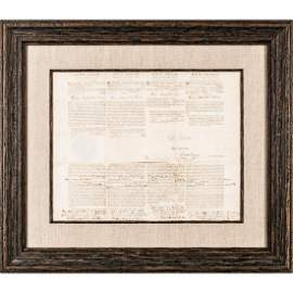 1797 President JOHN ADAMS Signed Ship Papers
