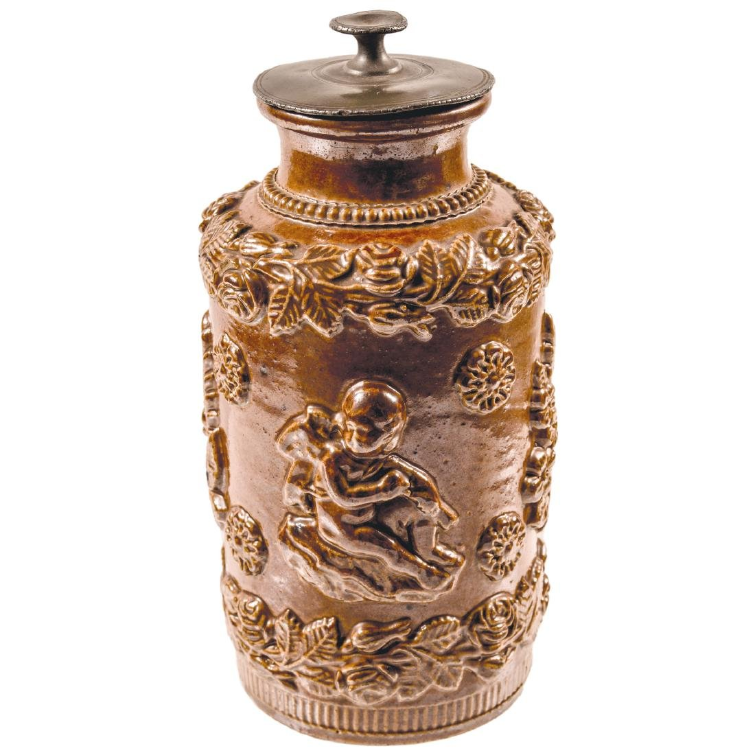 c. 1776 Rheinish Stoneware Tobacco Jar with its Pewter