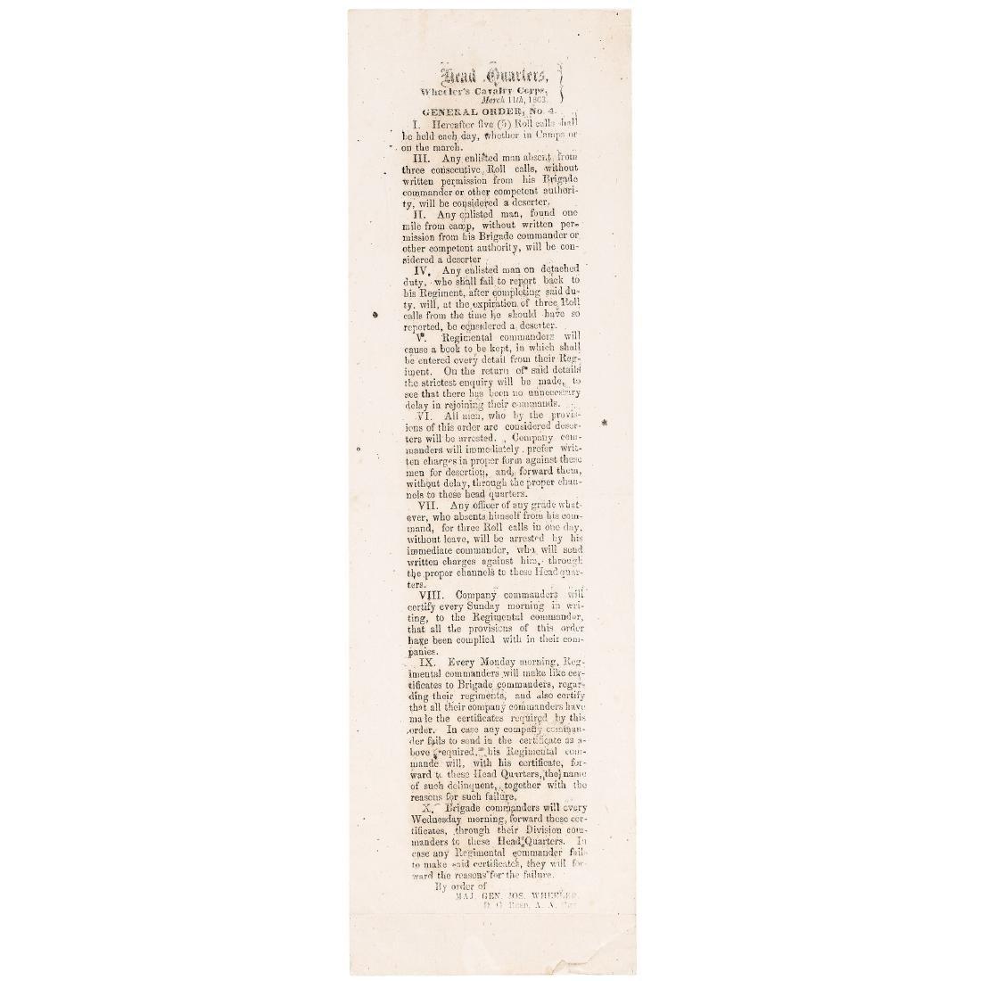 1863 Confederate Field Press Printed Broadside