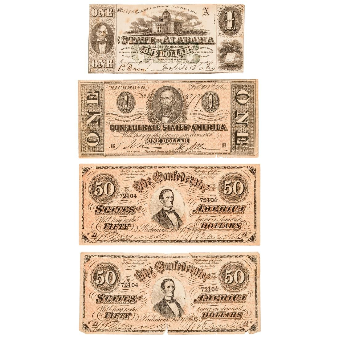 Confederate Currency Lot of Four Mixed Notes