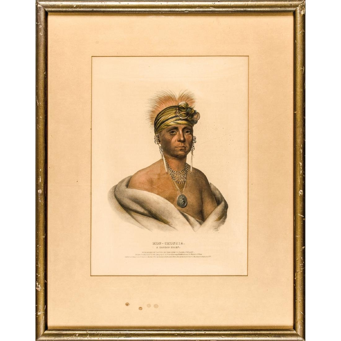 1842 Lithograph Chief Wearing His Silver Oval George