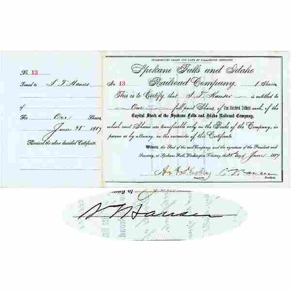 1887 SAMUEL T. HAUSER 2x Signed Stock Certificate