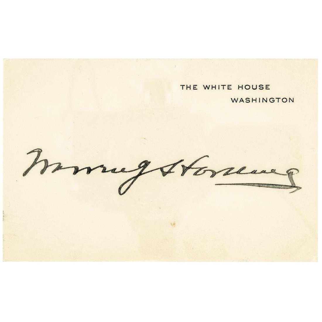 President WARREN G. HARDING White House Card